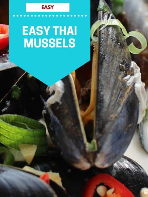 Pinterest image. Thai mussels with text overlay.