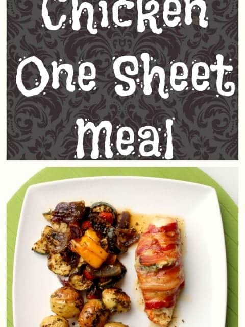 Stuffed Chicken One Sheet Pan Meal for two. Perfect for weeknight dinners