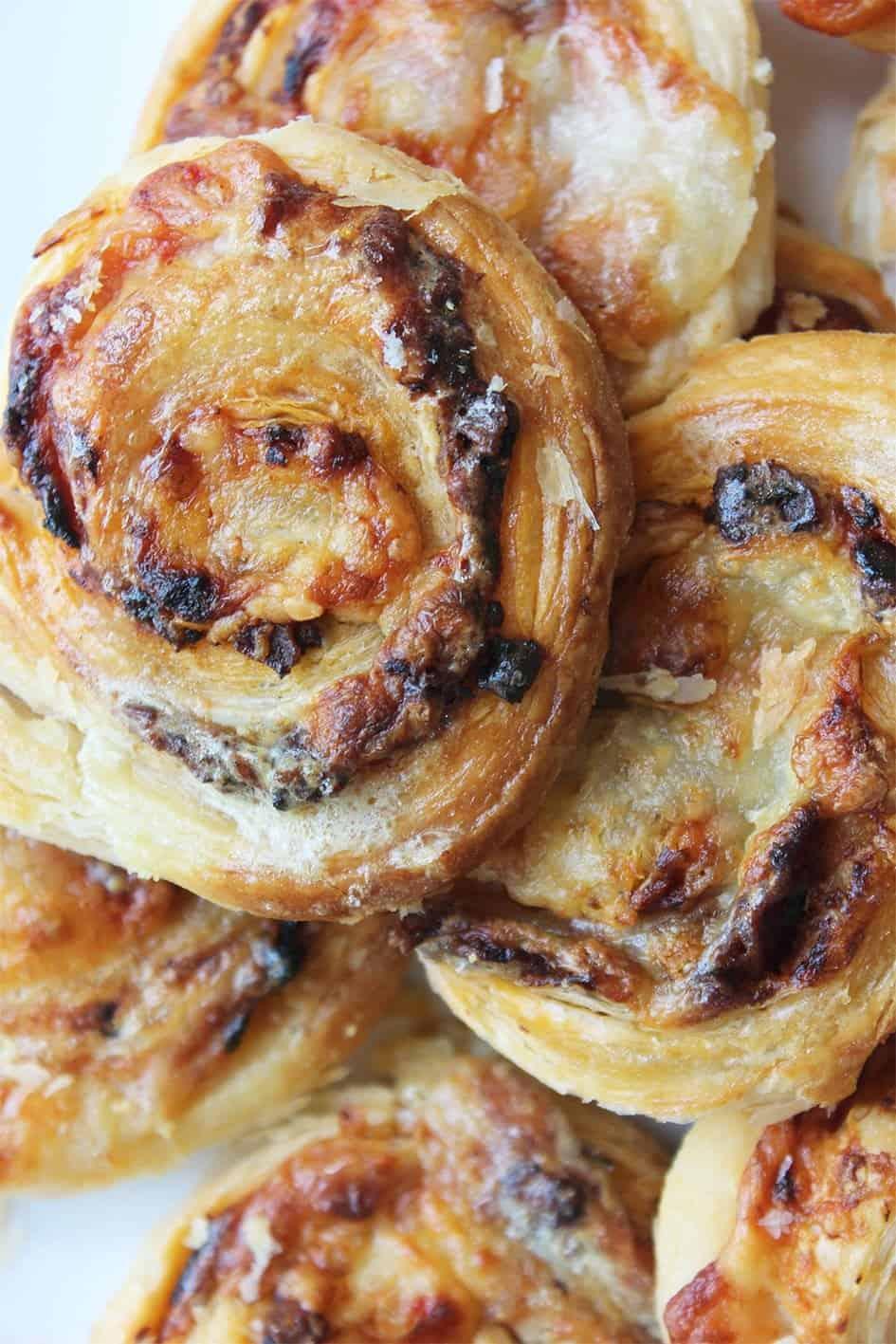 Close up puff pastry pinwheels