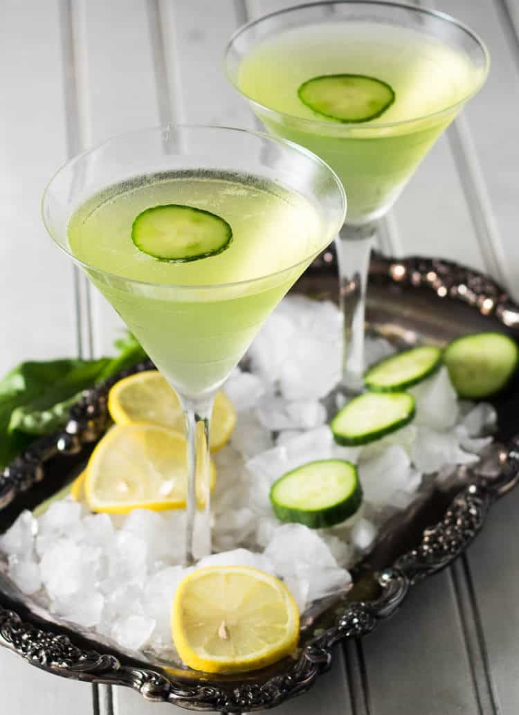 Two cucumber lemon martinis