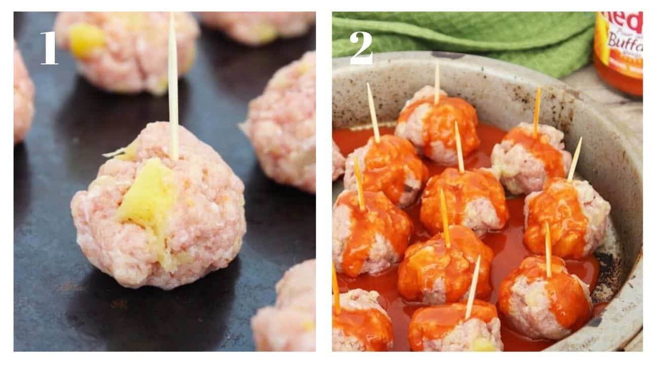 Process shots to show how to prep the meatballs before cooking
