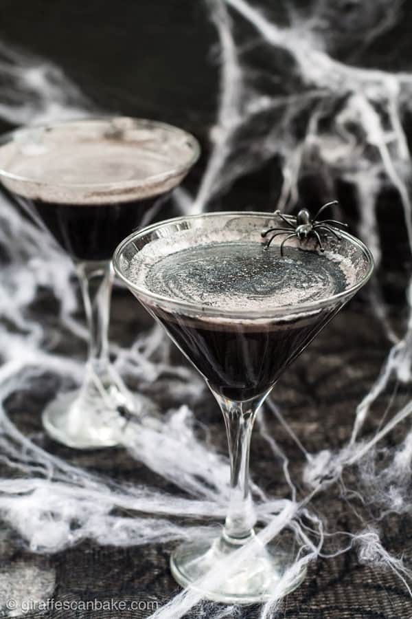 A spooky halloween cocktail - a black widow