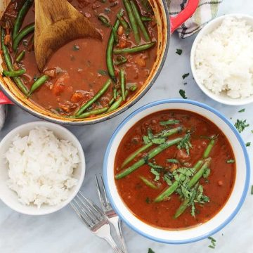 Beef curry stew served with portions of rice