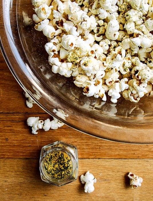 Skinny popcorn in a glass bowl