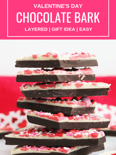 Pinterest image.Chocolate bark stacked with text overlay