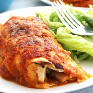 Close up of a Mexican Chili Beef enchilada on a white plate