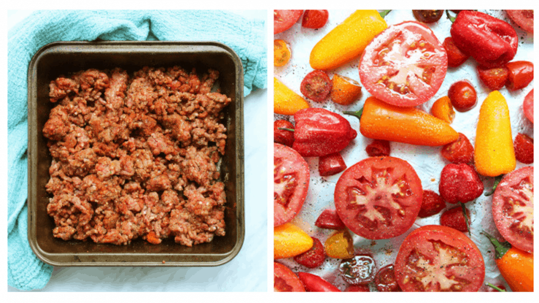 Process collage. Chili beef and vegetables before being roasted.
