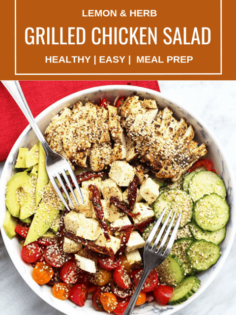 Pinterest image. Top down shot of Grilled Chicken Salad with text overlay.