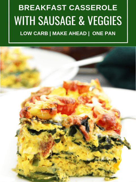 Pinterest image. A breakfast sausage egg bake with text overlay.