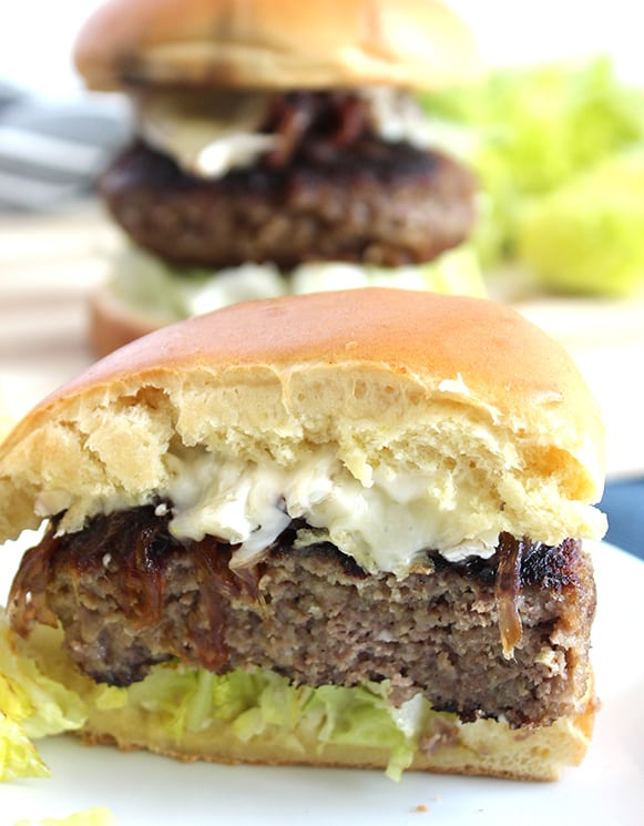 A honey and truffle burger cut in half
