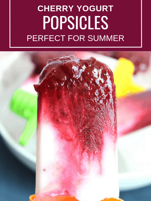 Pinterest image. A cherry and yogurt popsicle with text overlay