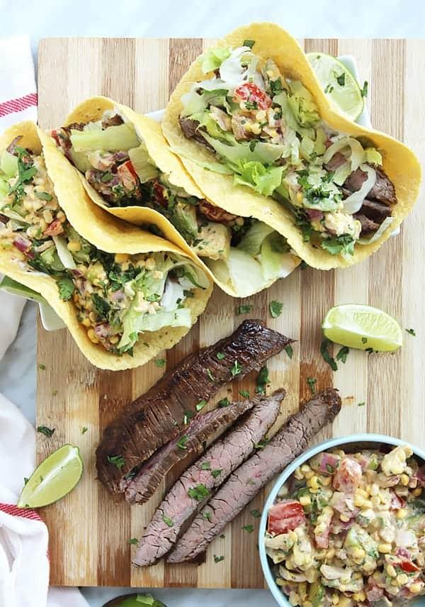 Flank Steak tacos on a chopping board