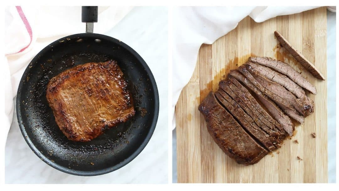 Flank stak in a frying pan and cut into slices on a board