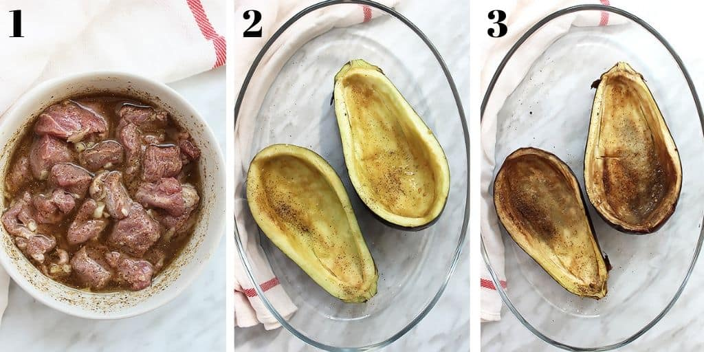Three process shots of lamb being marinated and eggplant prepared and cooked