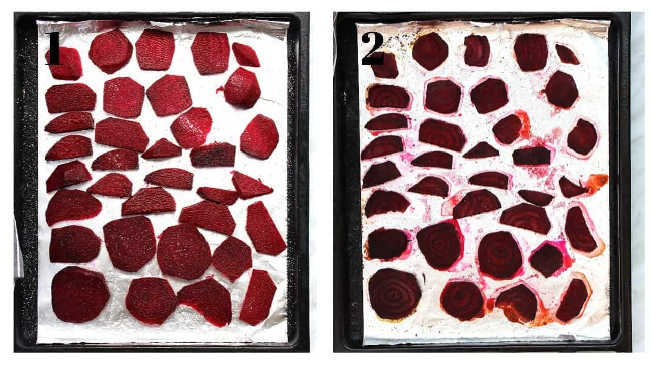 Sliced beetroots before and after cooking