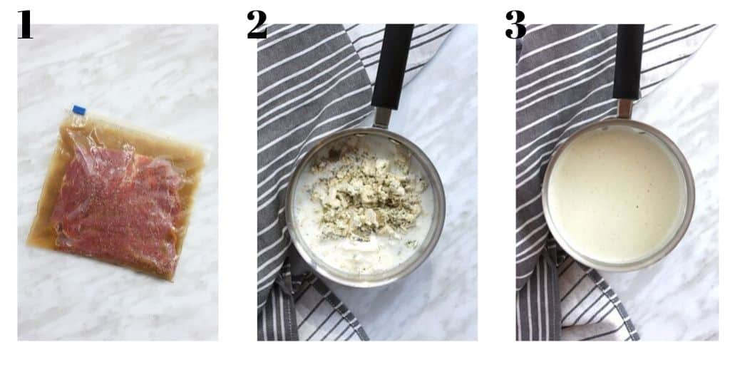 three process shots to show the steak marinating and making the blue cheese sauce