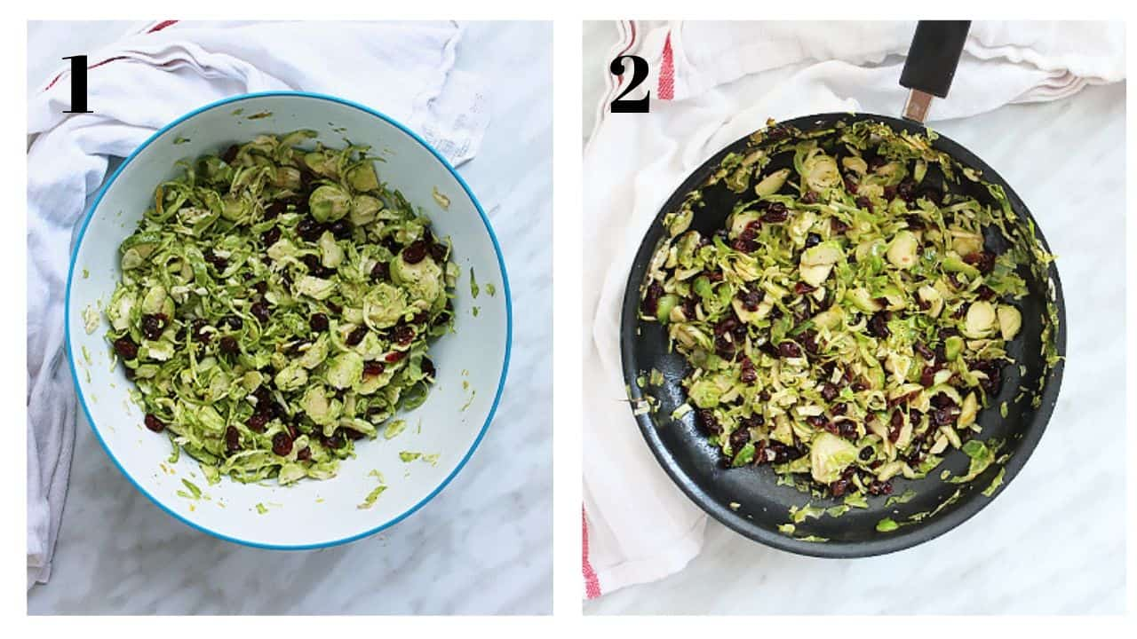 Two process shots to show how to make the side dish