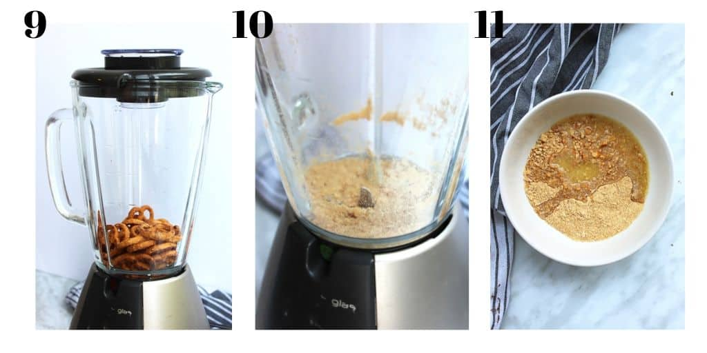 3 process shots to show how to make the pretzel topping