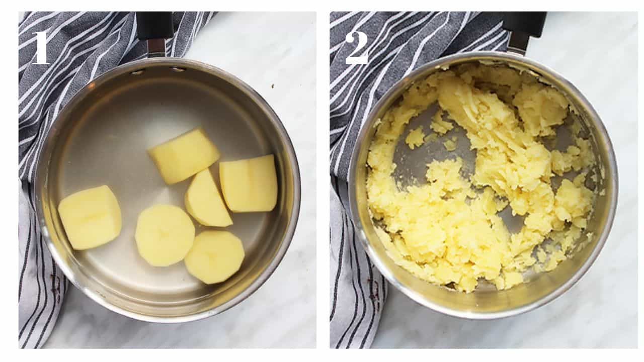 Two process shots to show potatoes boiling and then mashed