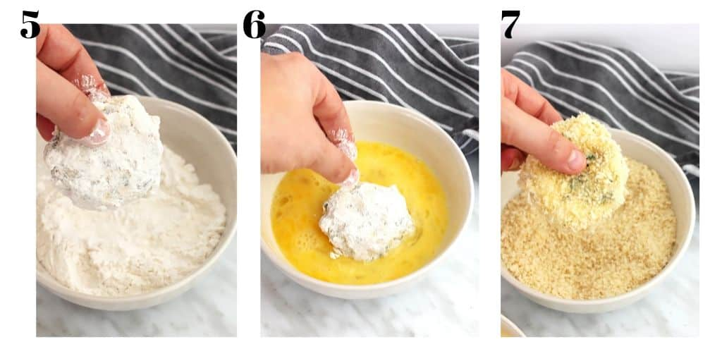 Three process shots to show the crab cakes being coated with breadcrumbs