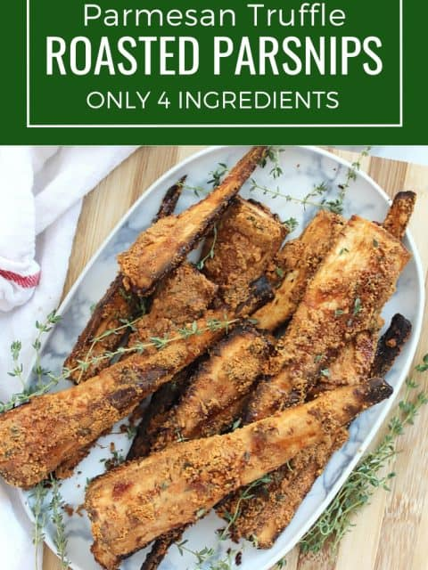 Pinterest graphic. Roasted parsnips with text overlay