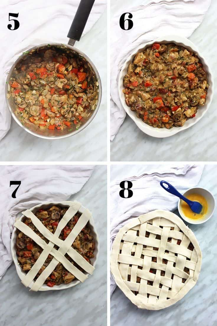 Process shots to show how to make the filling for the pie and how to make the lattice topping