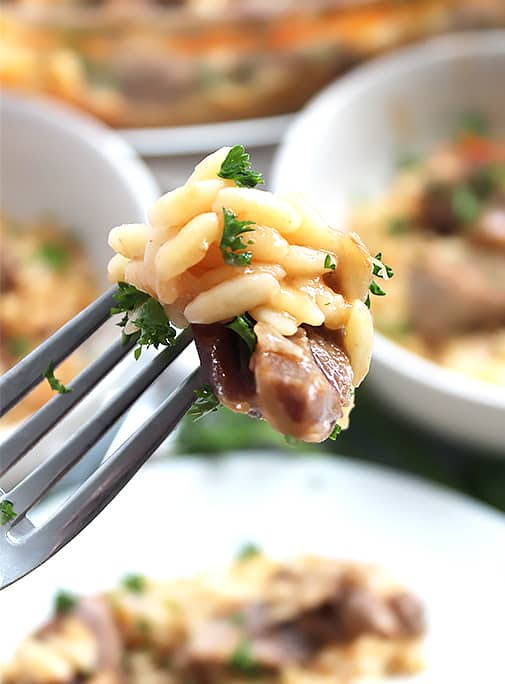 The cooked lamb and orzo on a fork