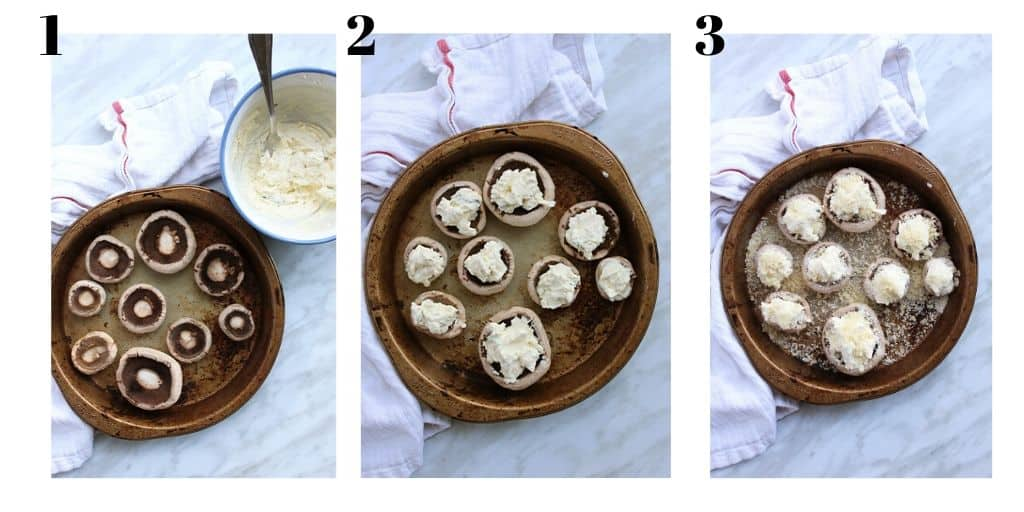Three process shots showing how to prep the mushrooms before baking