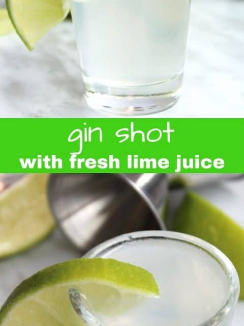 Two photos of gin shots with text separator