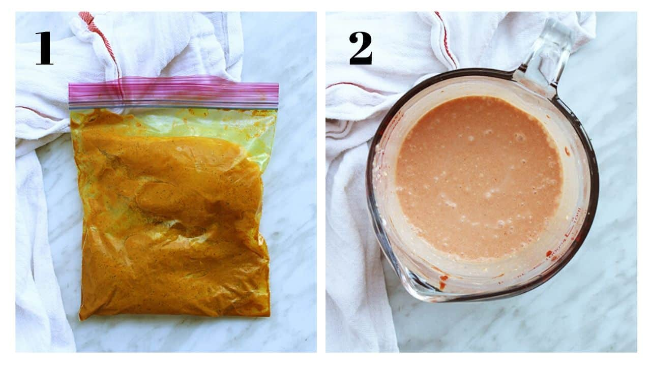 Two shots to show chicken marinating and the mixed coconut milk sauce