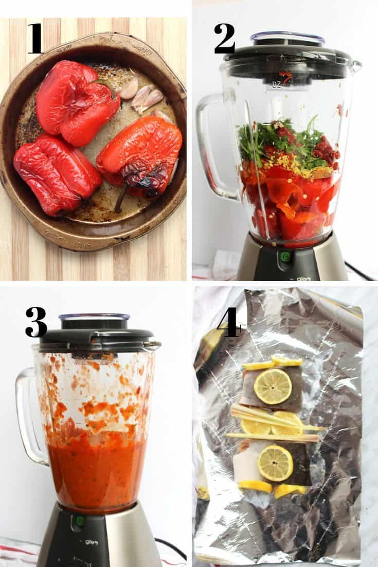 Four process shots to show how to make the roasted pepper sauce and bake the fish in foil