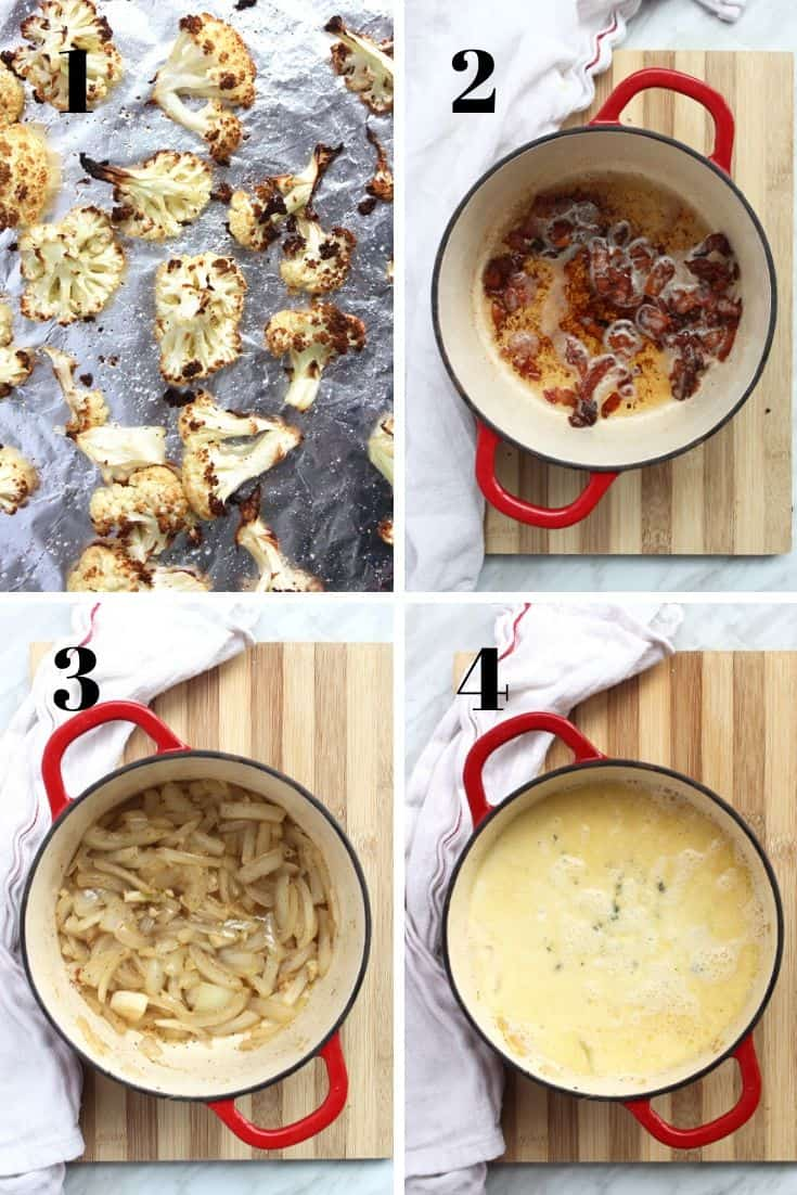 Four shots to show how to make the recipe