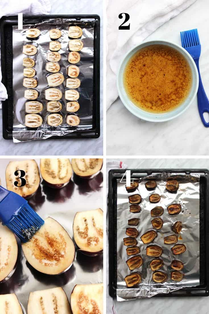 Four shots to show how to roast the eggplant