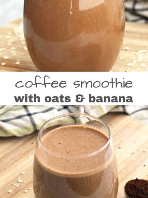 Pinterest graphic. Two images of the coffee smoothie with text separator