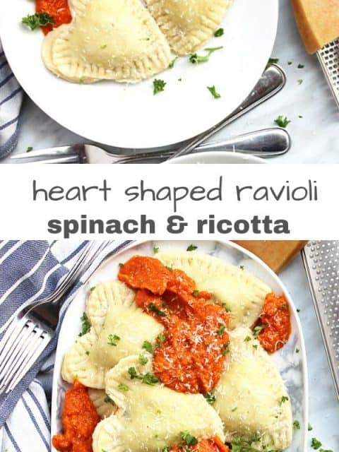Pineterst graphic. Two shots of heart shaped ravioli with sauce with text separator