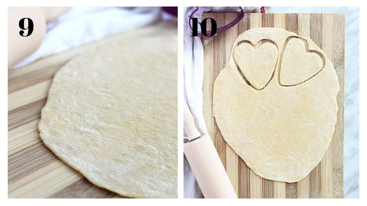 Two shots to show the rolled out pasta dough with heart cut outs.
