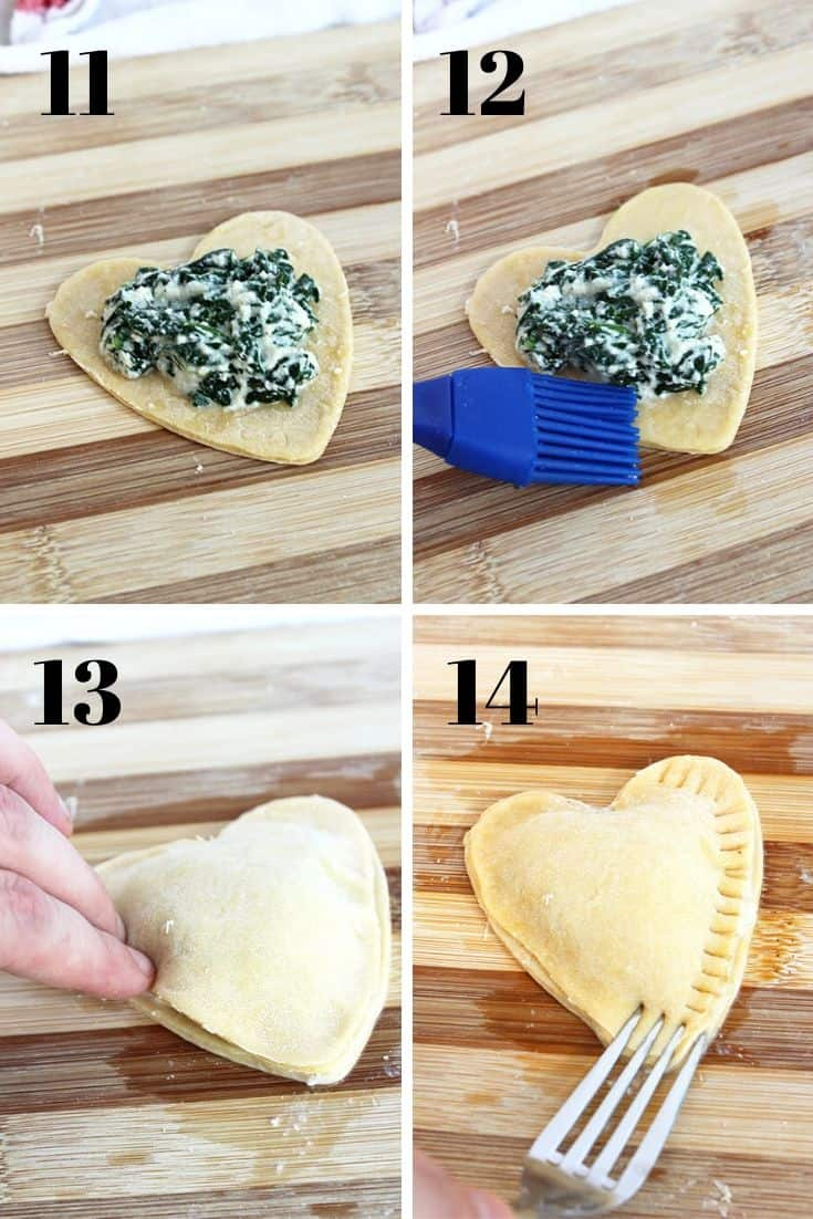 Four shots to show how to fill and seal the ravioli hearts