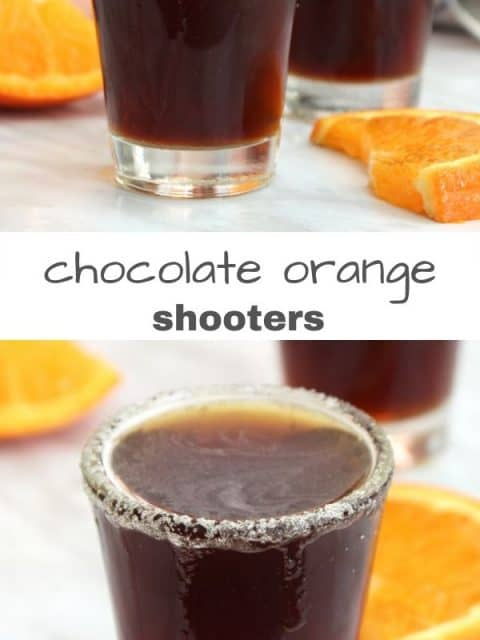 Pinterest graphic. Two photos of chocolate orange shots separated by text banner