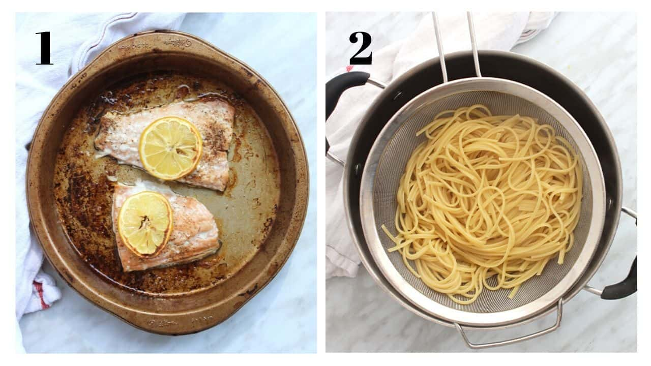 Two shots to show the cooked salmon and drained pasta