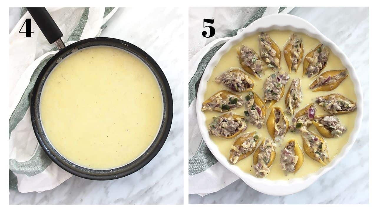 The cheese sauce and the stuffed pasta shells laid into it before baking