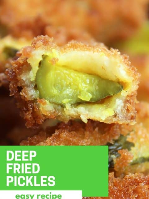 Pinterest image. Deep fried dill pickles with text