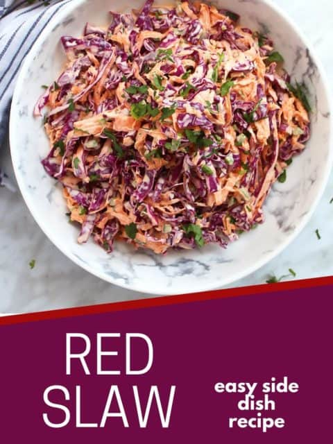 Pinterest graphic. Red cabbage slaw with text