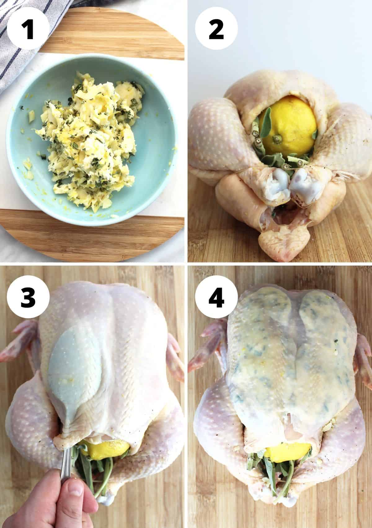 Four shots to show how to prep the chicken