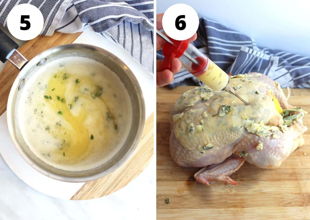 Tow shots to show the butter mixture being injected into the chicken