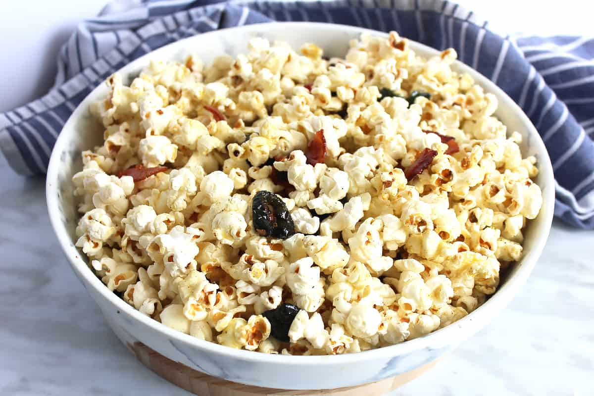 Jalapeno and bacon popcorn in a large serving bowl