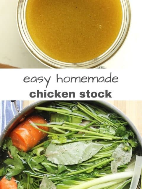 Pinterest graphic. Homemade chicken stock with text overlay.