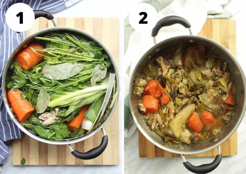Two shots to show the stock before and after cooking