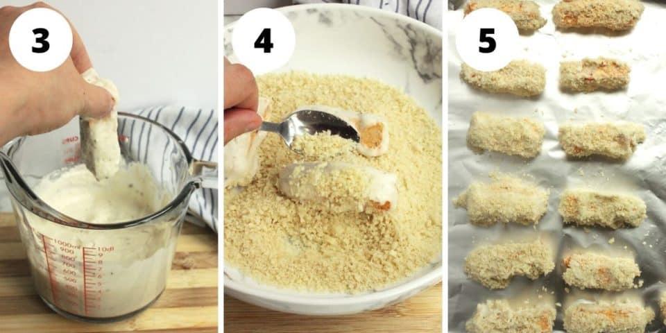 Three shots to show how to dredge the tofu