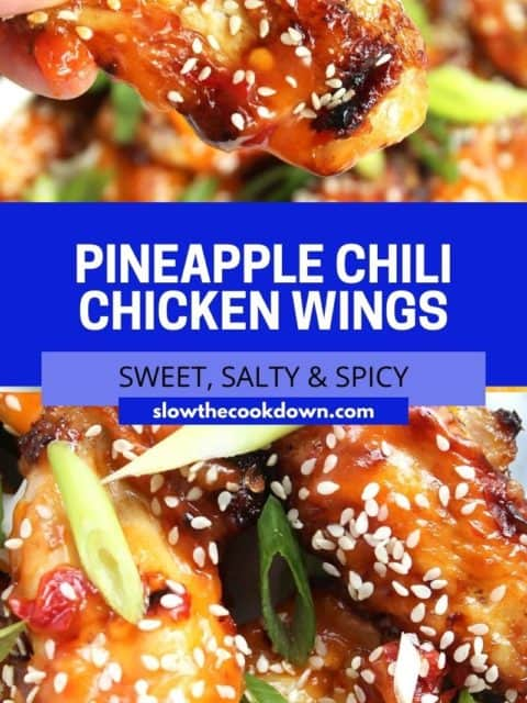 Pinterest graphic. Chili and pineapple chicken wings with text