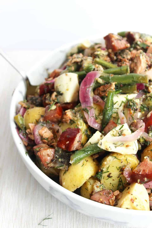 The potato salad ready to serve